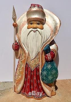 10% Off Large Santa Claus Christmas Gifts Sack Carved Wood Hand Painted Signed