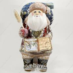 10 Santa Claus Christmas Russian Hand Carved Wooden Figure Statue With A Book