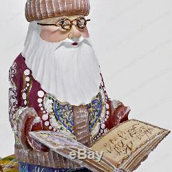 10 Santa Claus With A Book Statue Christmas Russian Hand Carved Wooden Figure