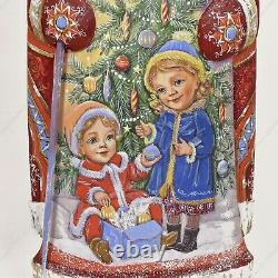 11 Santa Claus Statue Christmas Russian Hand Carved Wooden Figure Winter Themes