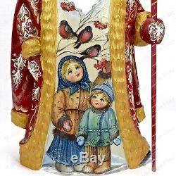 11 Santa Claus Statue Christmas Russian Winter Themes Hand Carved Wooden Figure