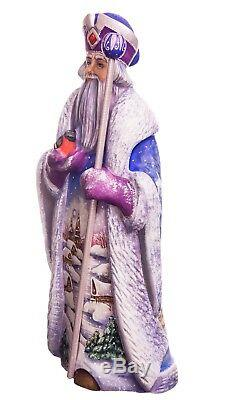 12 Hand carved Santa Claus Handpainted Christmas wood figurine Ded Moroz