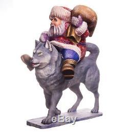 12 Hand carved Santa, Santa statue, Christmas decorations, wood Santa Claus