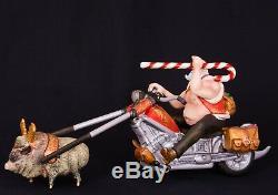 17 Hand carved Santa Claus biker Handpainted Christmas wood figurine Ded Moroz