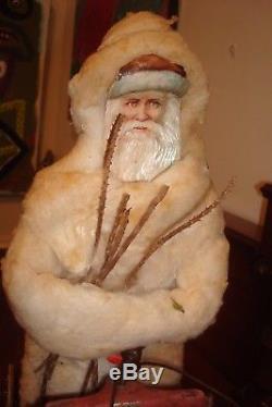 1890's 16 3/4 L GERMAN Polar Bear Pulling Santa ClausTreeToysSleigh