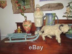 1920s German Christmas Large Display featuring Santa Claus' Sleigh & Large Ram