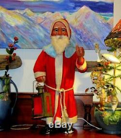 1922 Fine detailed Electric Nodding German Santa Claus Lantern Store display