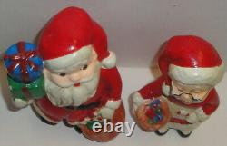 1950 VINTAGE CERAMIC MR. MRS. SANTA CLAUS BANK FIGURES ARDCO Japan Christmas