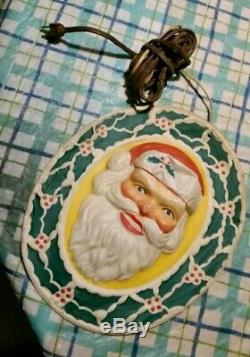1950's Vintage Glolite Lighted Plastic Christmas Santa Claus Head Face Working