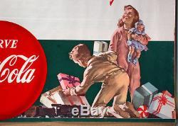 1950s Coca-Cola Christmas Store Display Poster 37x18 Haddon Sundblom Santa Claus