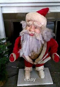 1960s RARE 30 Tall HAROLD GALE XMAS Mechanical Santa Claus Store Display-Works