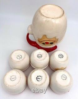 1967 Holt Howard Christmas Santa Claus Pitcher & 6 Santa Egg Nog Cups Rarer