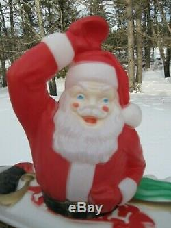 1970 Empire Santa Claus in Sleigh Blow Mold 37x39 Christmas Decor