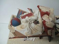 1994 Cathy Schneider Christmas Santa Claus in Sled of Toys Pulled by 2 Geese