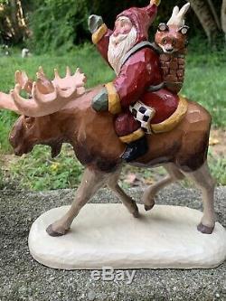 1996Santa Claus Riding Moose By Susan M SmithAlaskaHouse Of HattenRARE
