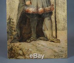 19c. European Art Oil Painting Wood Board Santa Claus St. Nicholas Christmas Tree