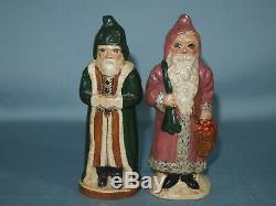 2 Vaillancourt Folk Art Santa Claus #8 & #34 Christmas 1986 Chalkware Belsnickel