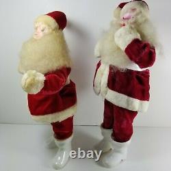 2 Vintage Harold Gale Santa Claus Christmas Doll Figure Red Velvet Lot of 2 a15