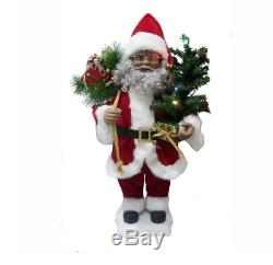 24 Animated African American Santa Claus with Lighted Tree Christmas Decor
