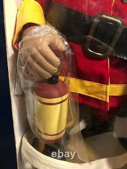 24 Animated Santa Claus Motionette Figure Firefighter Fireman FDNY NEWopen box