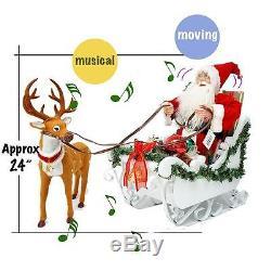 24 Music Move Santa Claus Xmas Decor Fiber Optic Handmade Sledge Reindeer Gift
