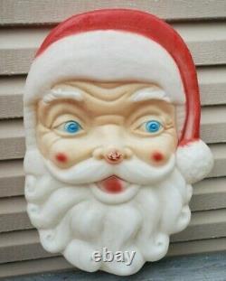 24 x 17 Vintage Empire Plastic Blow Mold Christmas Santa Claus Face Head Light