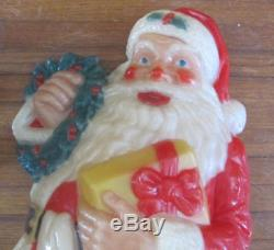 30 inch tall Noma lighted hard plastic wall decor Santa Claus in original box