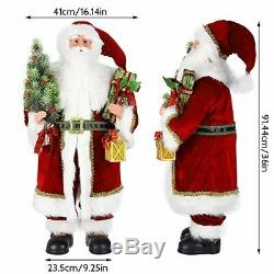 36in Santa Claus Figurine Standing Vintage Inspired Fabriche Santa Figure withGift