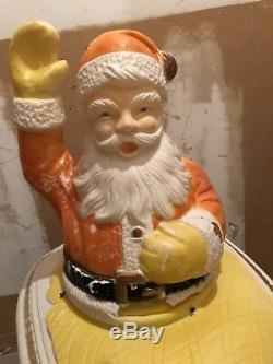 40 X 40 Vtg Santa Claus Sleigh Poloron Christmas XMAS Outdoor Yard Blow Mold