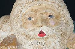 4ft Tall Antique STORE DISPLAY Paper Mache Santa Claus LIFE SIZE Christmas 1930s