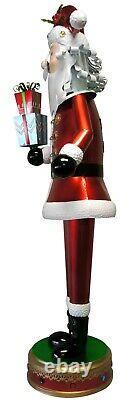 52 inch Illuminated Metal Santa & Presents Indoor/Outdoor Oversized Decor Statue