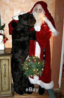 5ft Santa Claus / Father Christmas with Grizzly Bear by Ditz Designs RETIRED