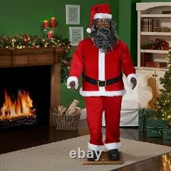 6 Ft LIFE SIZE African American ANIMATED BLACK SANTA CLAUS NEW MUSICAL SINGS