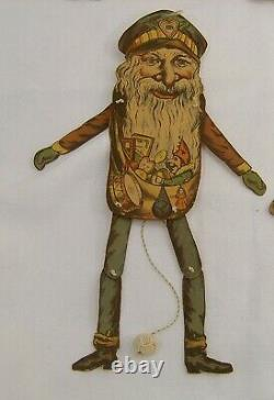 6 Santa Claus jumping jack made by Oehmigke & Riemschneider Germany ca 1870