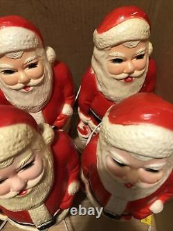 6 Vintage 13 Union Products Santa Claus Lighted Plastic Blow Mold Christmas