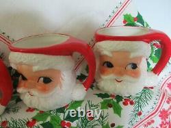 6 Vintage Lefton China Santa Claus Face Christmas Mugs 2542 Japan