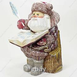 8 Santa Claus Wooden Figure Hand Carved Christmas Russian Statue With A Book