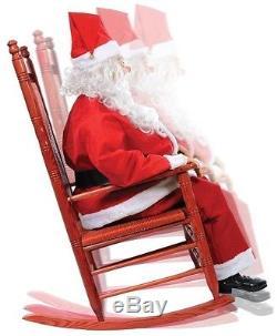 ANIMATED LIFESIZE ROCKING SANTA CLAUS CHRISTMAS FIGURE PROP MOVES TALKS look