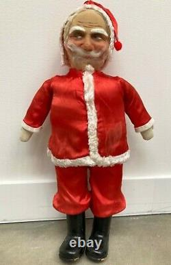 ANTIQUE 25.5 Standing Face Mask Santa Claus Christmas Doll Figure 1920's