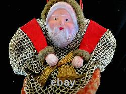 ANTIQUE Celluloid Santa Claus in Boot Net Christmas Candy Holder Container. RARE