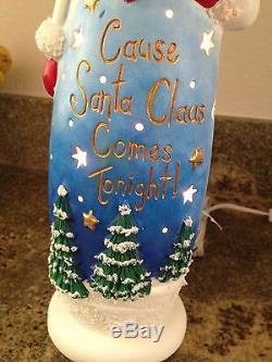 Acrylic Painted Ceramic Bisque Mr and Mrs Santa Claus Christmas Decoration