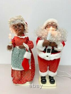 African American Santa Mrs Claus Motionettes Christmas Animated Lighted 24
