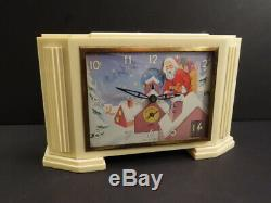 All Original Antique JAPY SANTA CLAUS Bakelite Clock & Music Box France 1948