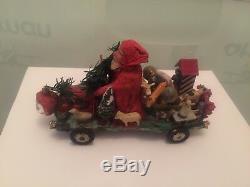 Amazing Antique German Santa Claus Driving Bus 1900 Rare Piece