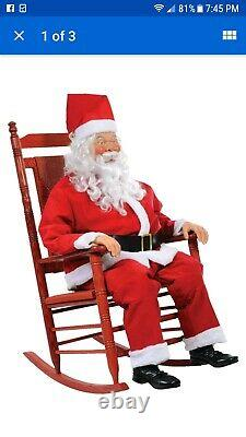 Animated Rocking Santa Claus Christmas Prop Life Size Holiday With Sound and chair