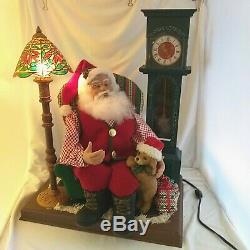 Animated Santa Claus Story Cassette Audio DOG 1996 Grandfather Clock LIGHTS 21