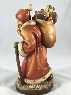 Anri Sarah Kay Jolly Santa Claus Sack Toys 6.75 Carved Wooden Figure Made Italy