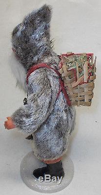 Antique BROWN FELT JACKET GERMAN SANTA CLAUS christmas figure belsnickle 9