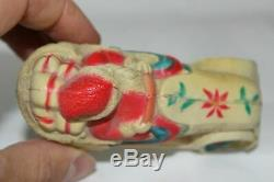 Antique CELLULOID VISCOLOID SANTA CLAUS CAR Christmas Ornament Baby Rattle