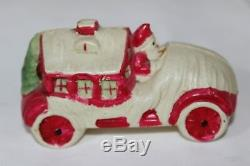 Antique CELLULOID VISCOLOID SANTA CLAUS CAR HOUSE Christmas Ornament Baby Rattl